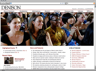 Screenshot of denison.edu